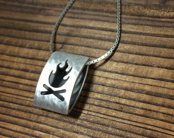 Fire icon pendant - hammered and brushed finish