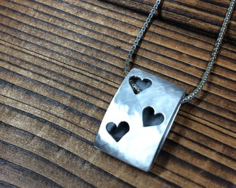 Three hearts icon pendant - brushed finish