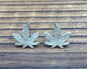 Silver Ganja Leaf stud earrings - scratch finish
