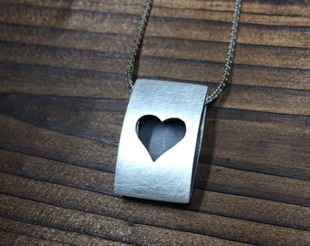Heart icon pendant - brushed finish