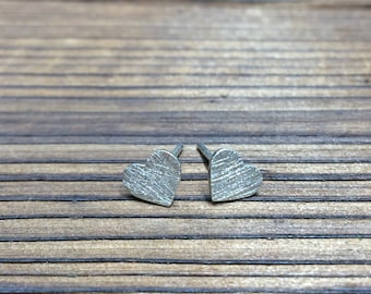 Silver Heart stud earrings - scratch finish