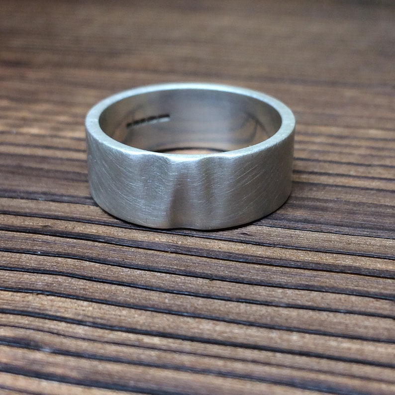 Wave thumb ring in sterling silver  Brushed finish image 0