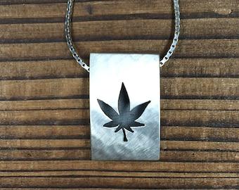 Leaf icon pendant - brushed finish