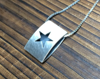 Star icon pendant - hammered and brushed finish
