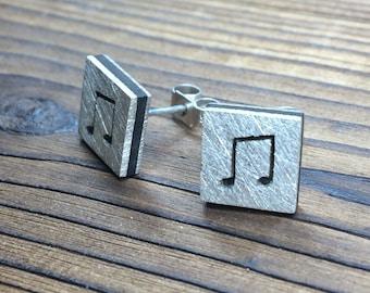 Silver and ebony scratch finish earrings