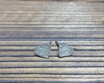 Silver Heart stud earrings - scratch finish