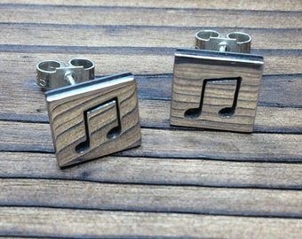 Silver and ebony polished finish earrings
