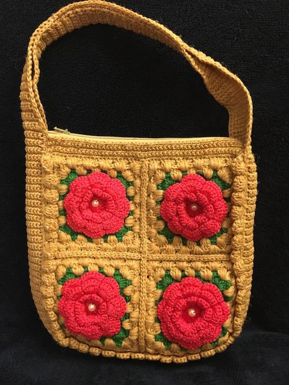 Vintage Crocheted Handbag, Pink Roses Handbag
