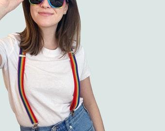 Rainbow Elastic Suspenders