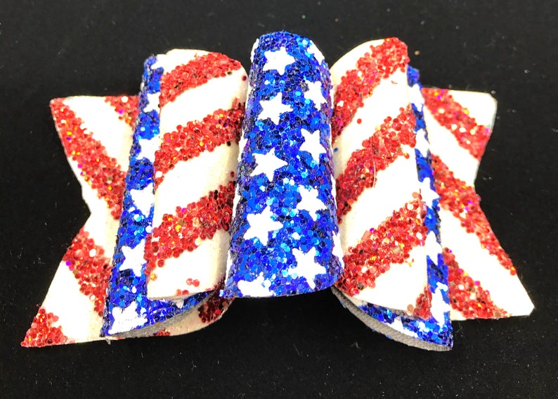 4th of July Hair Bow Stars and Stripes Hair Bow for Girl Red White and Blue Hair Bow