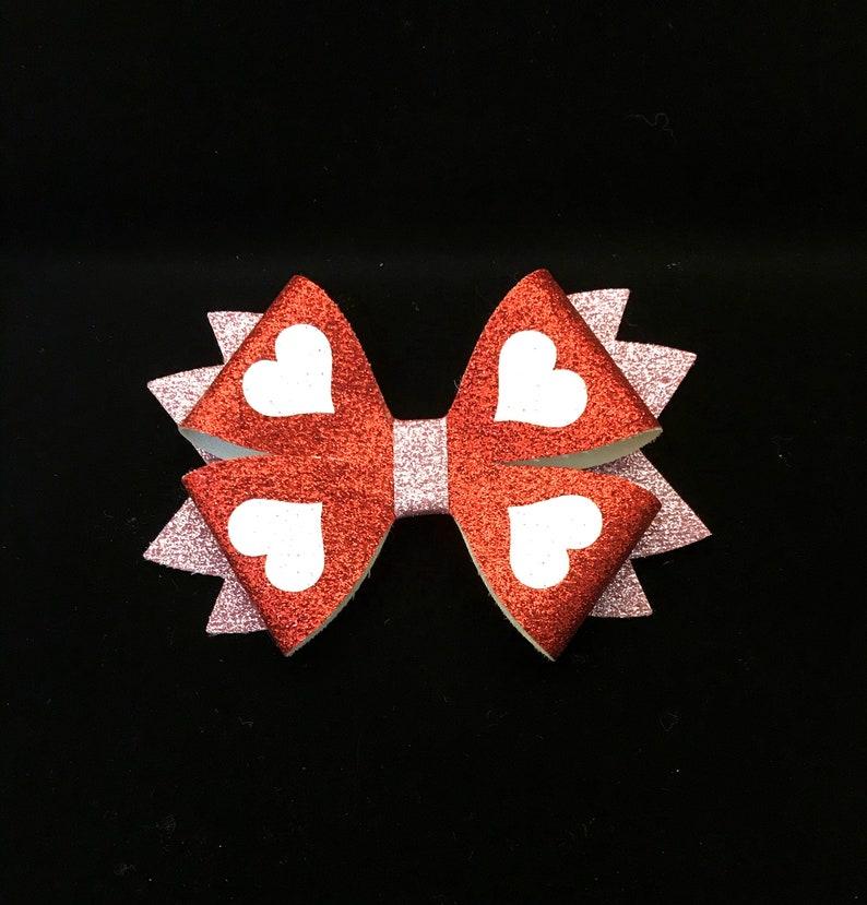 Valentine/'s Day hair bow for girl Heart shape hair bow for girl