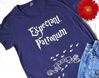 979527456174c1 Expectant Patronum Maternity Top | Pregnancy T-shirt | Graphic Tee | Cute  Shower Gift | Custom Pregnancy Announcement | Actual Maternity Fit