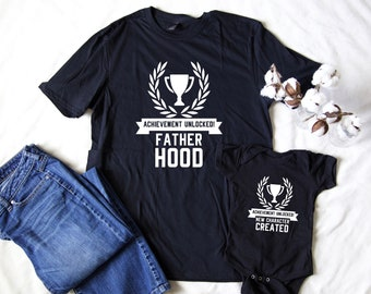 cf259ce6 Achievement Unlocked - Fatherhood | New Character Created | Father Son  Daughter Matching Set | Nerdy Daddy Geek Video Game Dad Men's Tees