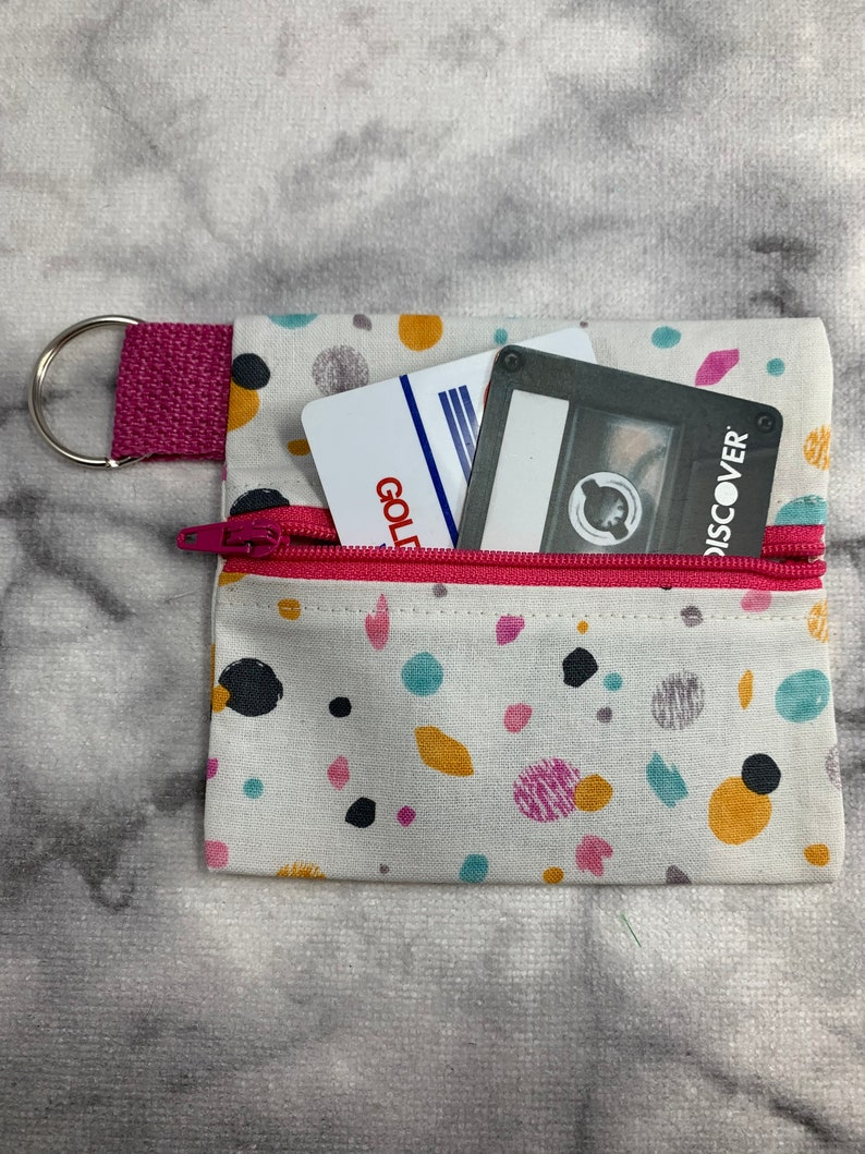 Zipper Pouch Card Case Retro 80s Cotton Coin Purse Coin Pouch Wristlet