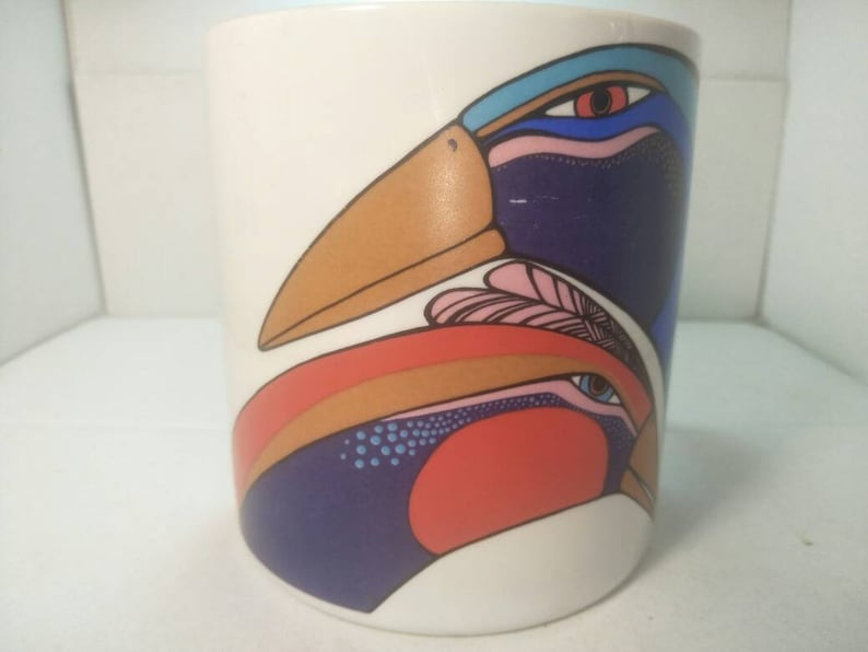Laurel Burch Mug featuring peacocks