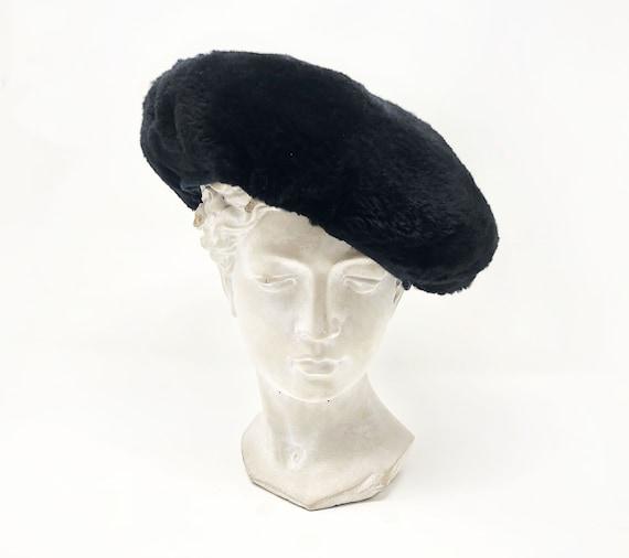 Pierre Cardin black fur beret - vintage 1960s