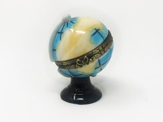 Limoge Style Trinket Box Hinged Treasure Box Miniature World Globe New