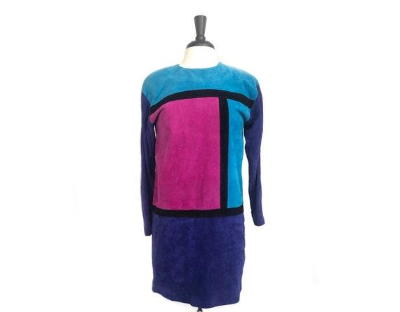 80s vintage Suede Mondrian fuchsia teal aqua blue