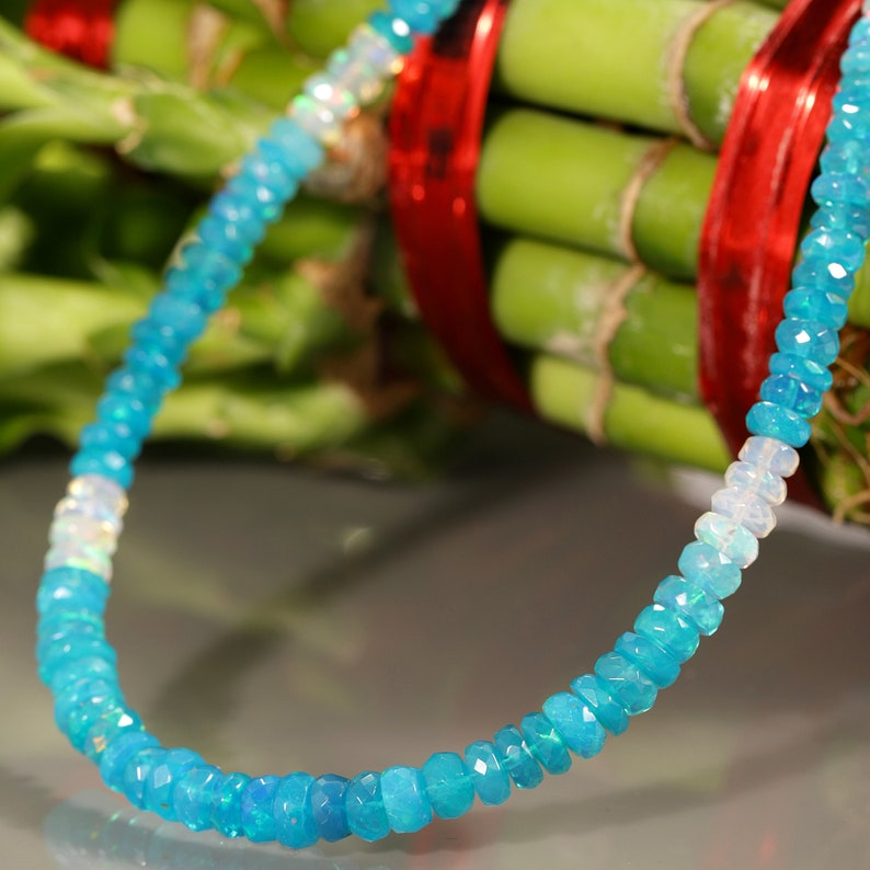 Ethiopian Blue opal necklace shaded opal necklace blue opal jewelry opal gemstone necklace opal silver necklace Opal Gemstone Necklace