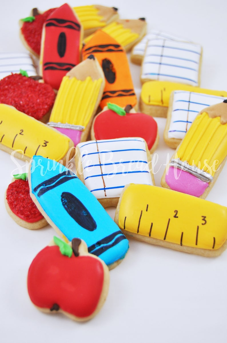 Mini Back to school sugar cookies  teacher gift   first day image 0