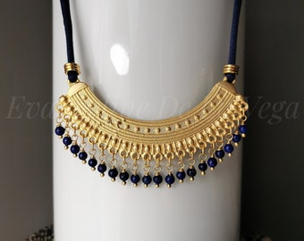 SIRI • Matte Gold Ethic Necklace. Gold and Dark Blue Necklace. Lapis Lazuli Beads. Satin Necklace. Gold Boho Necklace.
