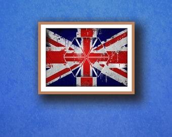 Kunstplakate KC10 Framed Vintage Style Union Jack Keep Calm And Drink Tea Funny Poster A3/A4