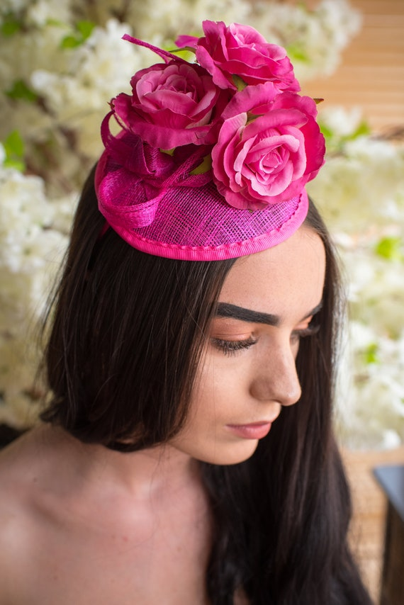 Hot Pink//fuschia Fascinator Hat Hair Fascinator Races Wedding Sinamay Fascinator
