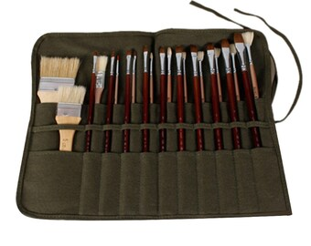 Paint Brush Holder Waxed Canvas Artist Paint Brush Roll Up Bag Genuine Leather Pouch Bag Case Storage for Acrylic Oil Watercolor Brown