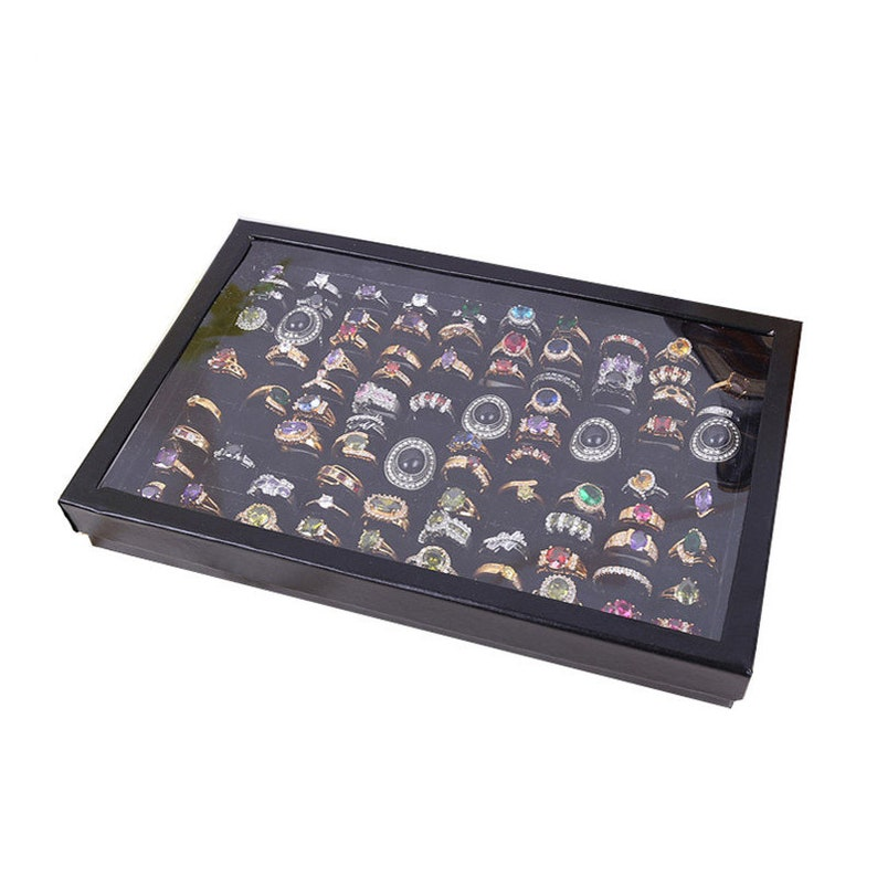 Earring Pin Black Cufflink /& Ring Display Case Storage Organizer Box with Glass Window Ring Holder Large Jewelry Display Case