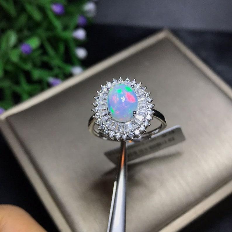 Dainty Flower Ring Sterling Silver Wedding Engagement Gift for Her Stack Ring White Opal Ring Mother Elegant Opal Ring Minimal Ring