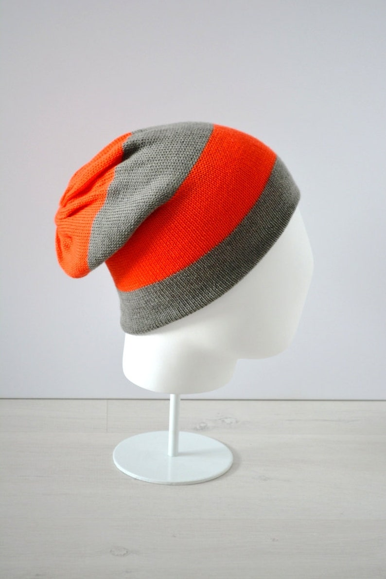 Cashmere hat knitted striped READY TO SHIP