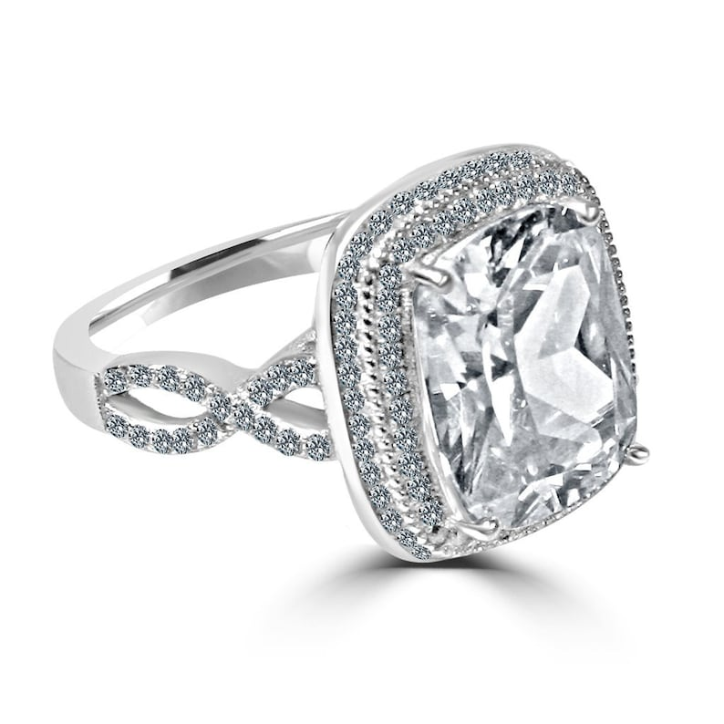 5 CT Cushion Center Halo Pave Simulated Diamond Split Shank Statement Ring 925 Sterling Silver-Engagement-Wedding-Anniversary-Promise Ring