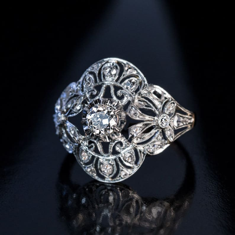 An Antique 925 Silver Openwork Milgrain Ring Is Centered With Etsy