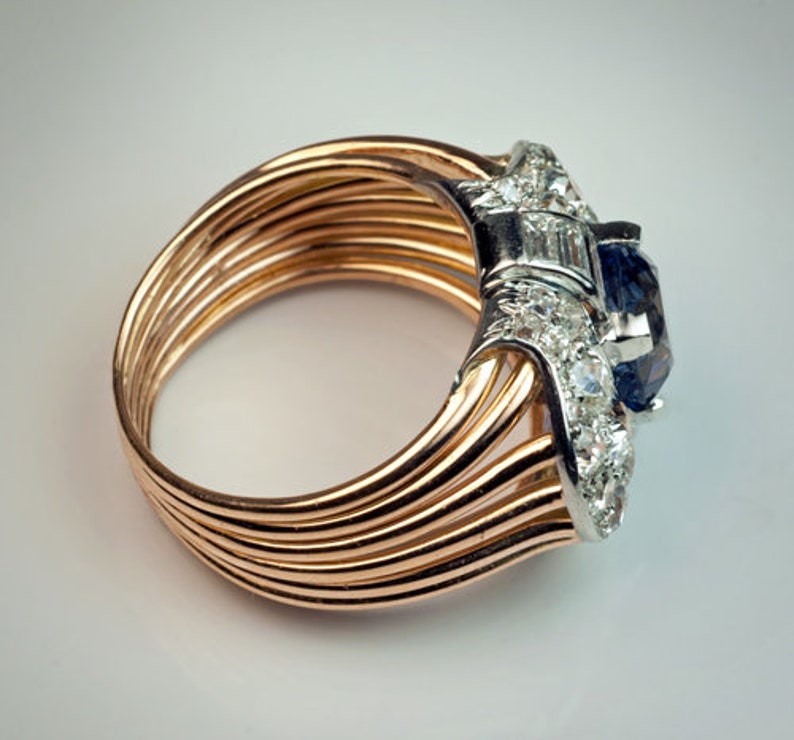 A handcrafted 925 Silver Ring Rose gold plated Vintage Retro Ceylon Diamond surrounded by baguette,cushion diamonds Ring-vintage ring