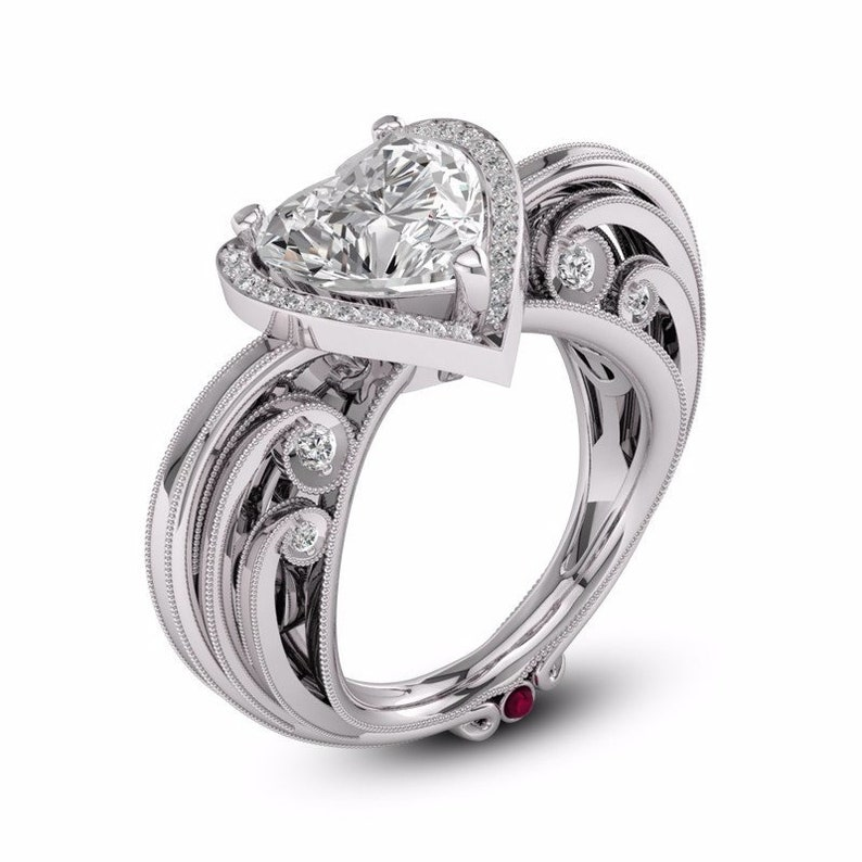 Solitaire Halo Statement Ring-Milgrain Art Work In Shank-925 Sterling Silver-High Quality Heart CZ-Engagement-Wedding-Anniversary Ring