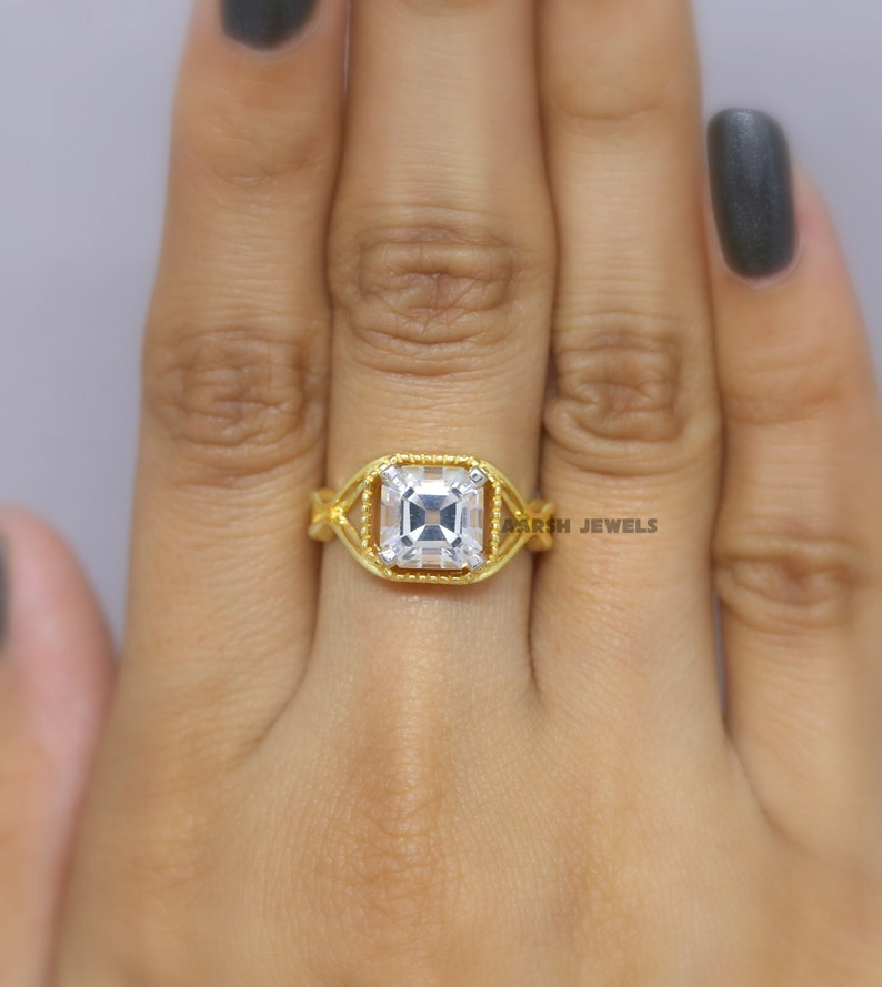 Gift for Her Art Deco Ring Yellow Gold Vintage Ring Asscher Diamond Ring,Simulated Diamond Wedding Ring Old Mine Asscher Diamond Ring