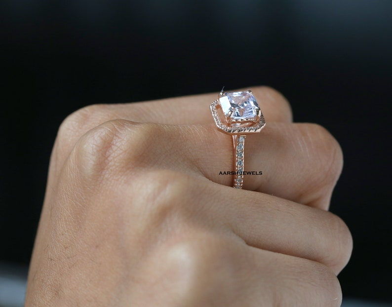 Asscher Cut 3.00CT Simulated Diamond Halo Wedding Rose Gold Ring,Halo With Accented Ring,Engagement Ring,Anniversary Ring,Friendshipday Gift