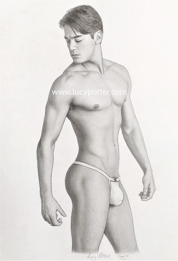 NEW VERSION GRAPHITE DRAWING MALE NUDE BY LUCY POTTER GAY INTEREST ORIGINAL