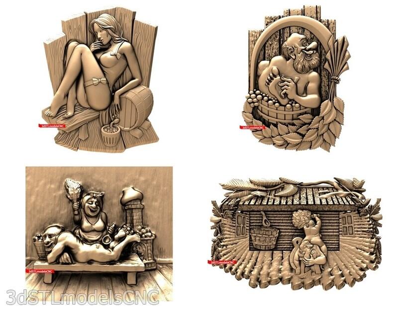 3D STL CNC Models 21pcs Bathhouse collection for CNC Router Carving Machine Printer Relief Artcam Aspire Cut3d
