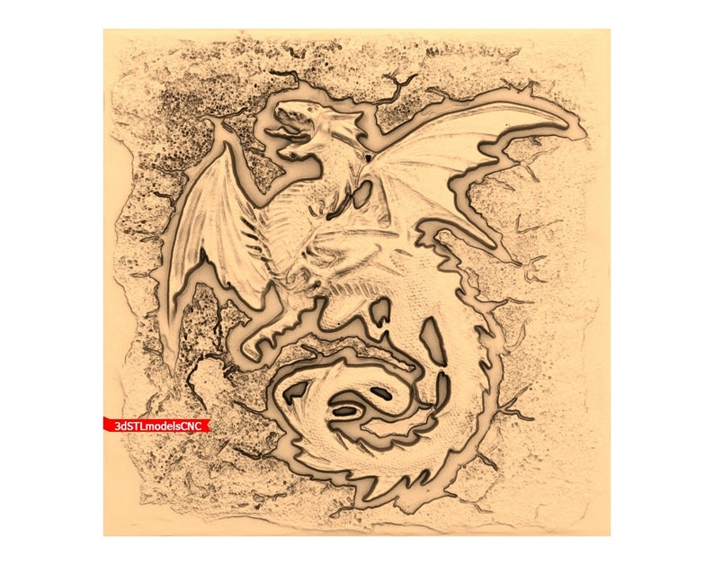 3D STL CNC Model Dragon the angry file for CNC Router Carving Machine Printer Relief Artcam Aspire Cut3d