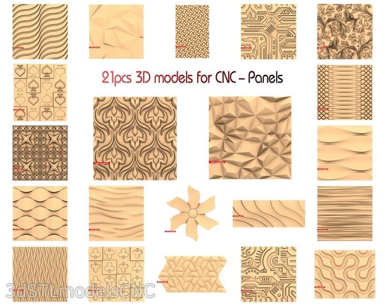3D STL CNC Models 21pcs Panels collection for CNC Router Carving Machine Printer Relief Artcam Aspire Cut3d