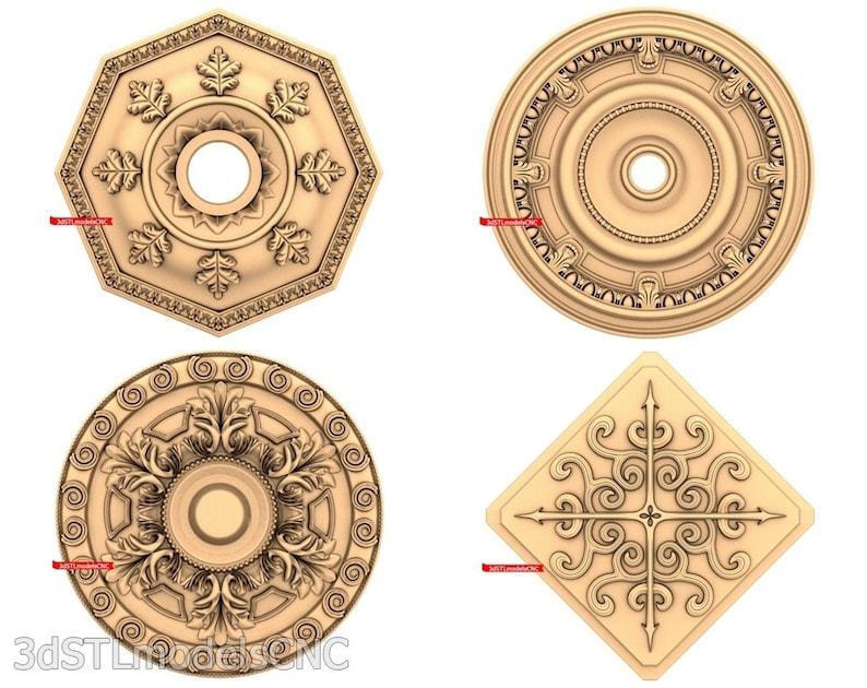 3D STL CNC Models 21pcs Rosettes collection for CNC Router Carving Machine Printer Relief Artcam Aspire Cut3d