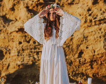 78c4a3d6deaee Boho white dress, boho wedding dress, bohemian wedding dress, maternity  dress, pregnancy dress, cotton lace dress, cotton dress