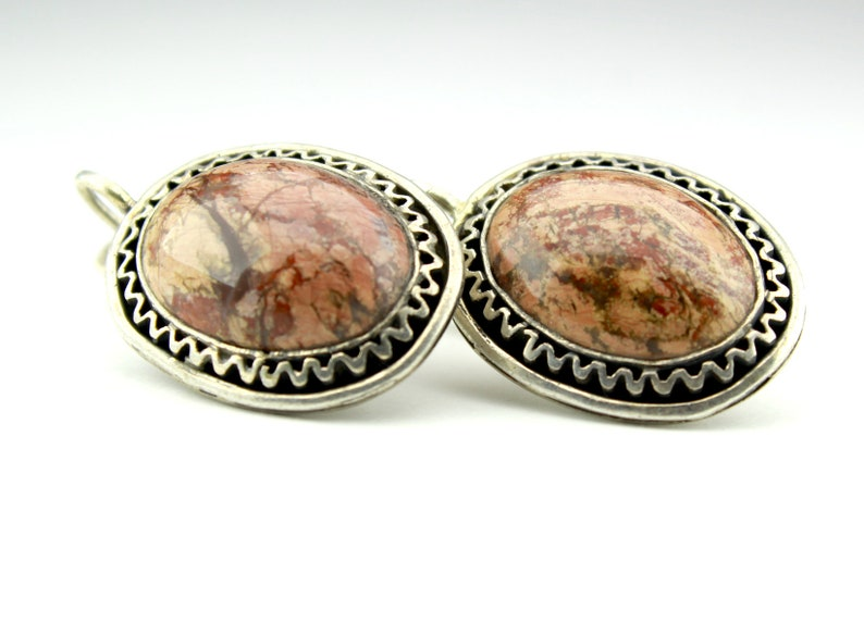 Sunny Silver Healing Gemstones Agate Jewelry Agate Cabochon Plume Mexican Agate Sterling Silver Ring Earrings Agate Stone Jewelry