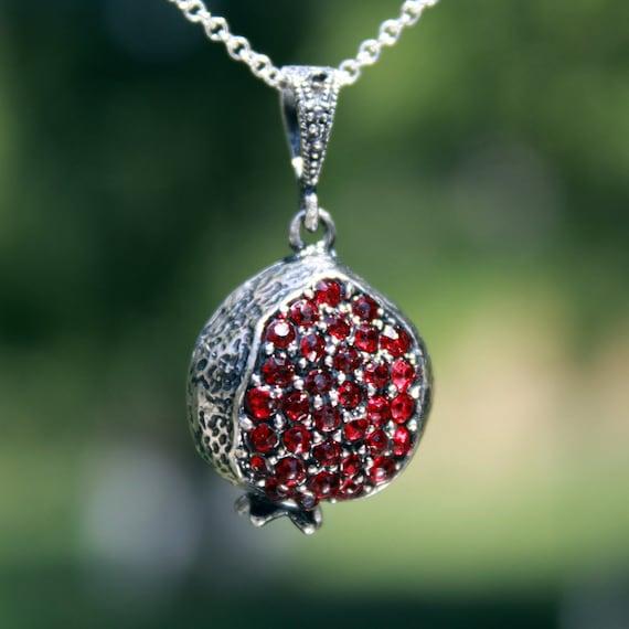 Three Pomegranate Sterling Silver Pendant