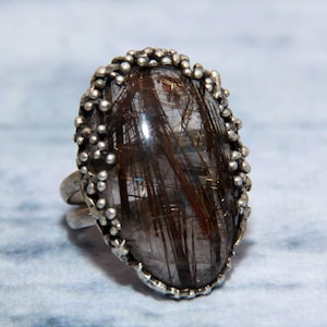 Natural Titanium Druzy  Gemstone Vintage Style Setting Ethnic Gift Handmade Ring Size 9 US Jewelry Best Gift For Her  RG 759