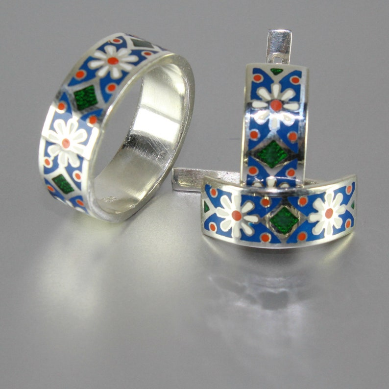 Sunny Silver Sterling Silver Enamel Chamomile Earrings And Ring Silver Enamel Ring Silver Enamel Jewelry Silver Statement Jewelry
