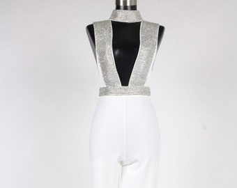 70f052798835 Rhinestone Sleeveless Open Front Jumpsuit