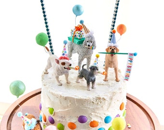 Dog birthday party//dog cake toppers/Dog party/Labrador  cake topper/collie cake topper//poodle cake topper