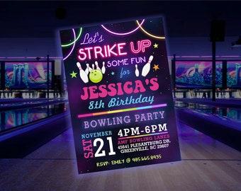 Glow Bowling Birthday Party Invitation Set of 12  4x6 Cosmic Bowling Party Invitation